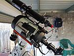 Name:  CElestron Edge HD 8 Inch with 80mm Celestron Guide scope and 60 mm Orion Scope and Front Weights.jpg